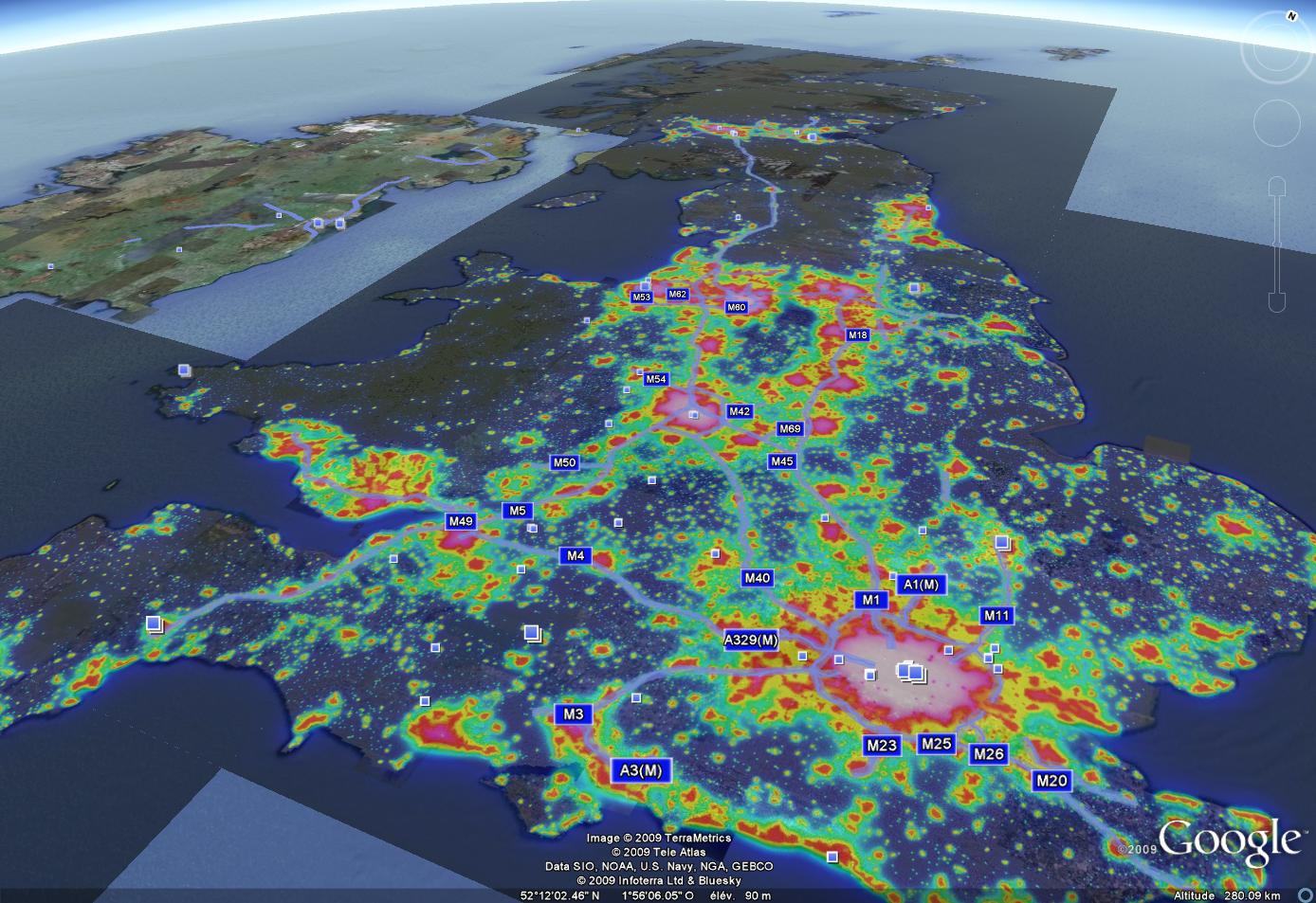 UK Light Pollution Map  Les Dossiers AVEX